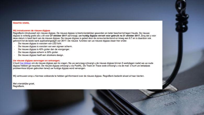 Phishingmail uit naam van Regiobank duikt weer op