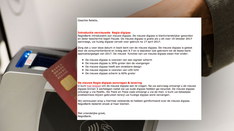 E-mail 'Regiobank' over introductie nieuwe digipas is phishing