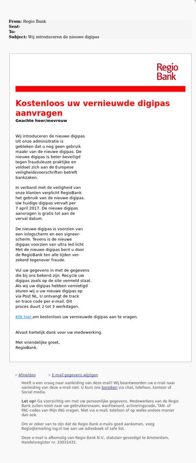 Pas op voor valse e-mail 'RegioBank'