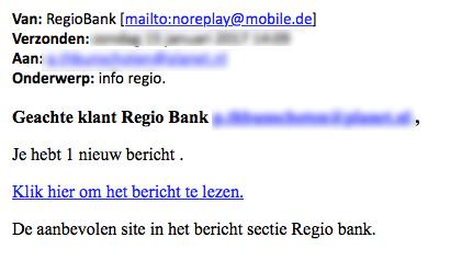 Pas op voor valse e-mails over 'berichten van bank'
