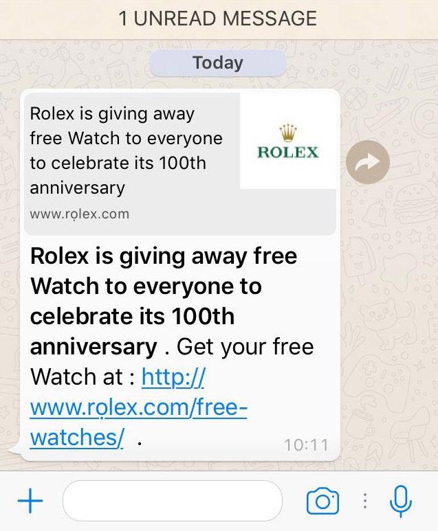 Pas op voor WhatsApp bericht van 'Rolex' Opgelicht