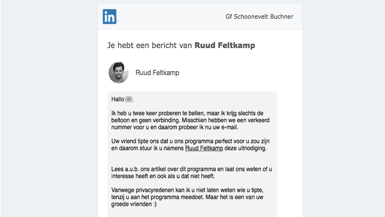 Let op! Er is een valse 'LinkedIn' uitnodiging van Ruud Feltkamp in omloop