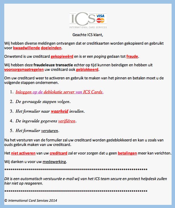 Valse mail ICS: 'uw kaart is geblokkeerd'
