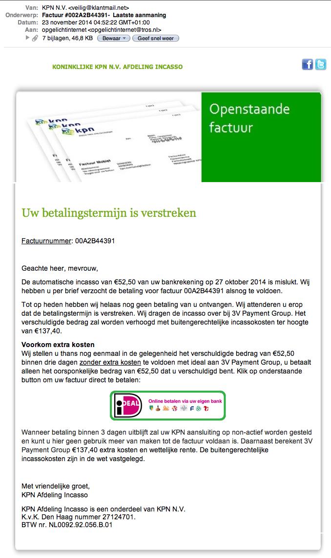 Valse e-mail KPN: 'uw betalingstermijn is verstreken'