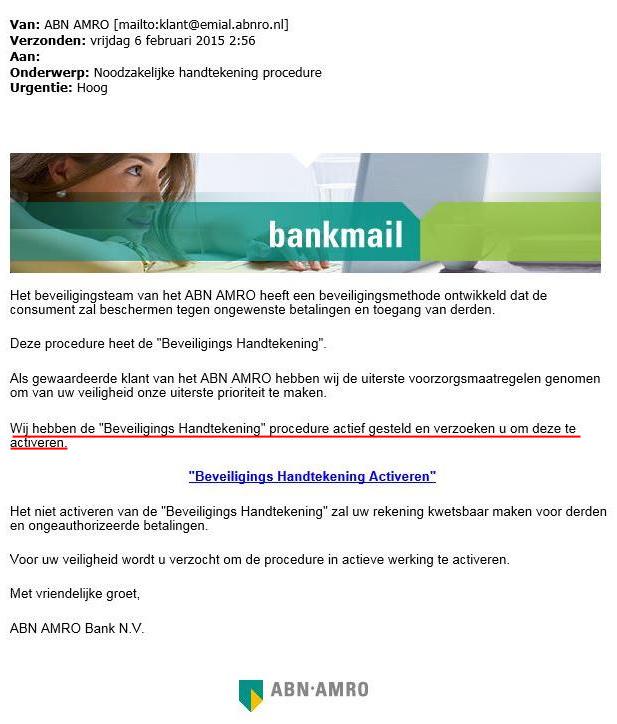 'Valse mail ABN AMRO over handtekening'