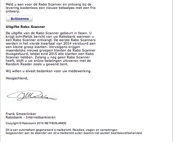 Valse e-mails van de Raboscanner in omloop