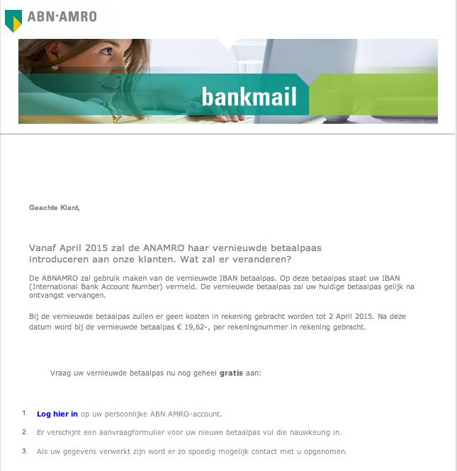 Valse e-mail betaalpas ABN  AMRO in omloop