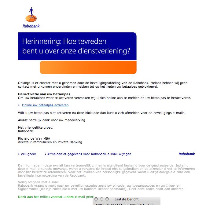 Valse e-mail Rabobank in omloop