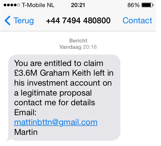 'Pas op voor voorschotfraude via SMS!'