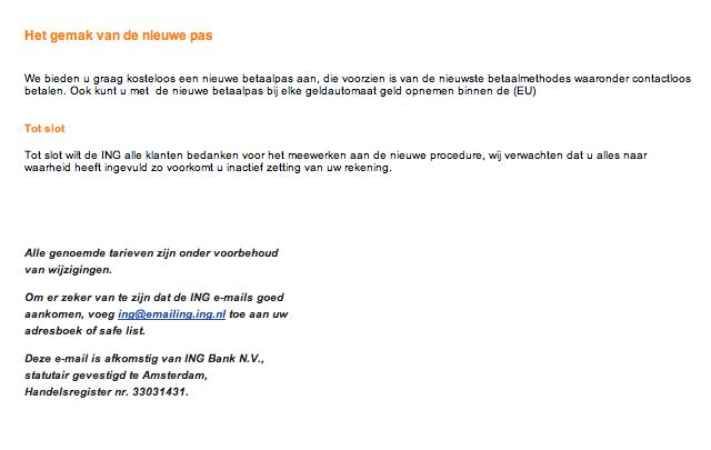 Pas op voor phishingmail ING!