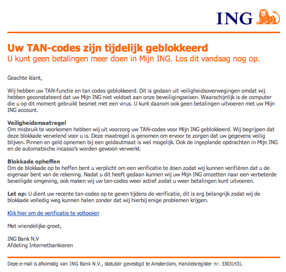 Trap niet in valse mail ING over tancodes!