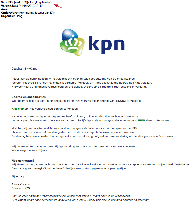 Valse mail KPN in omloop