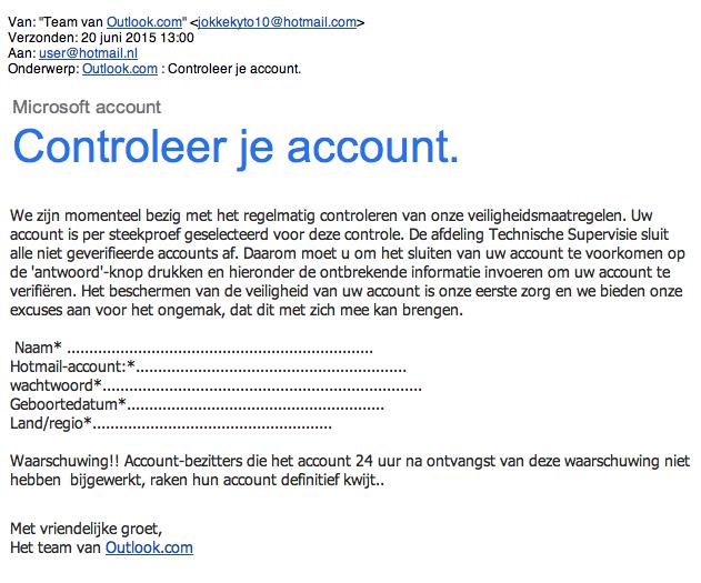 Valse mail, zogenaamd van Outlook, in omloop