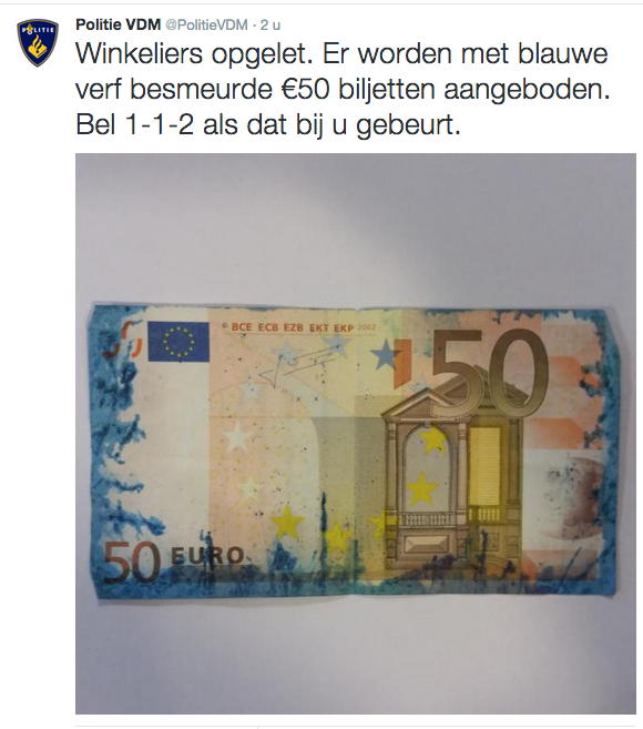 Politie waarschuwt voor besmeurde bankbiljetten