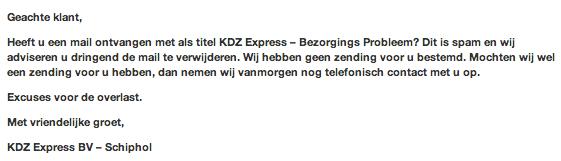 Valse mail KDZ Express leidt naar schadelijke software