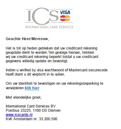Valse mail ICS: 'berichtmelding'