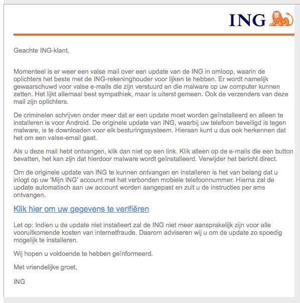 Valse mail ING: 'update voor uw mobiel'