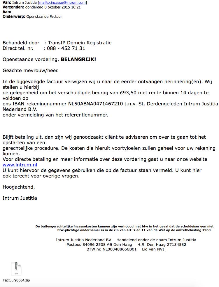 Opnieuw valse mail Intrum Justitia