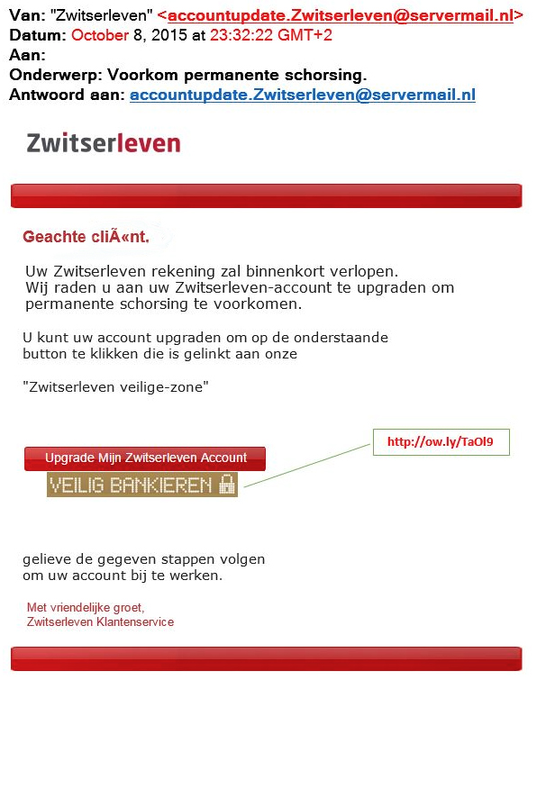 Valse mail Zwitserleven: 'Upgrade account'
