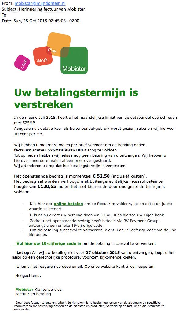 Valse mail Mobistar: 'betalingstermijn verstreken'