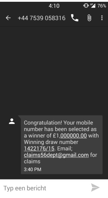 Pas op voor SMS-bericht over geldprijs