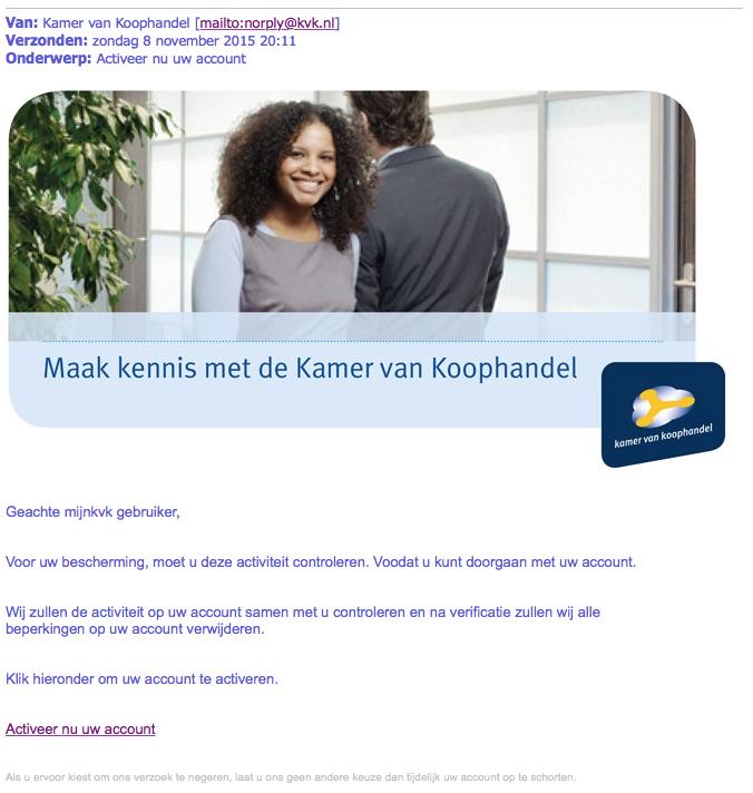 Pas op voor valse mail KvK