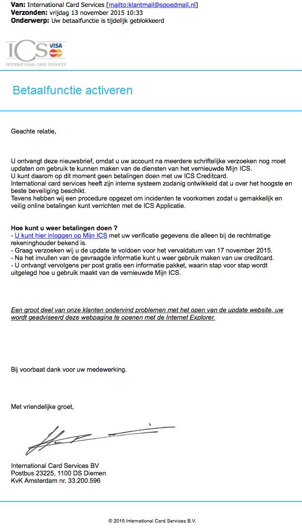 Nepmail ICS: 'Betaalfunctie activeren'