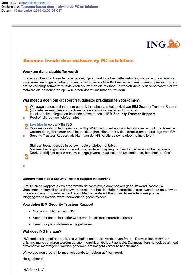 Valse mail ING: 'Toename fraude door malware'