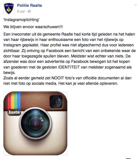 Politie waarschuwt voor 'Instagram-oplichting'