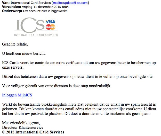 Opnieuw valse mail 'ICS'