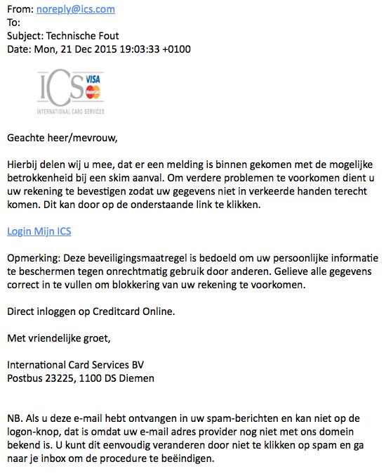 Valse mail 'ICS' over technische fout