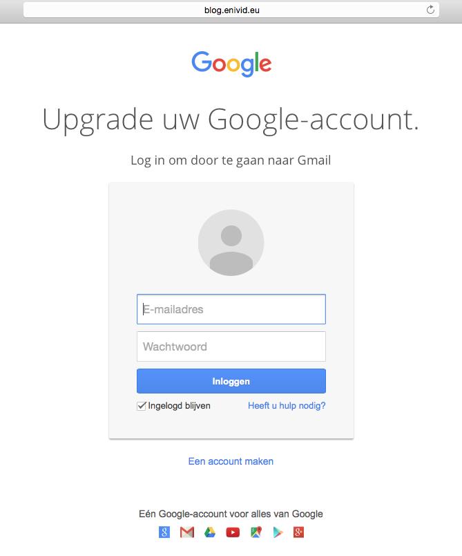 Phishingmail over upgrade Gmail