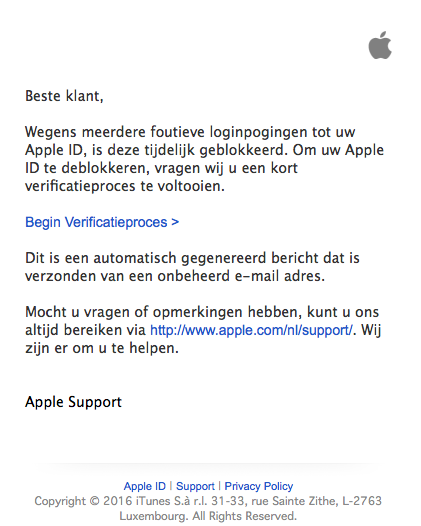 Nepmail 'Apple': 'wachtwoord deblokkeren'