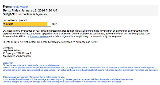 Valse e-mail: 'Uw mailbox is vol'