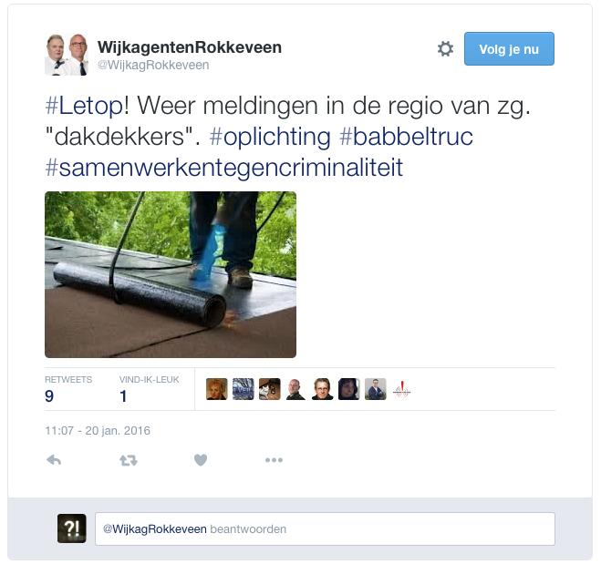 Politie waarschuwt voor 'dakdekkers'