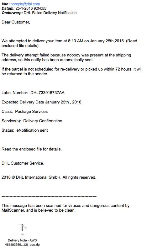 Nepmail 'DHL' bevat malware
