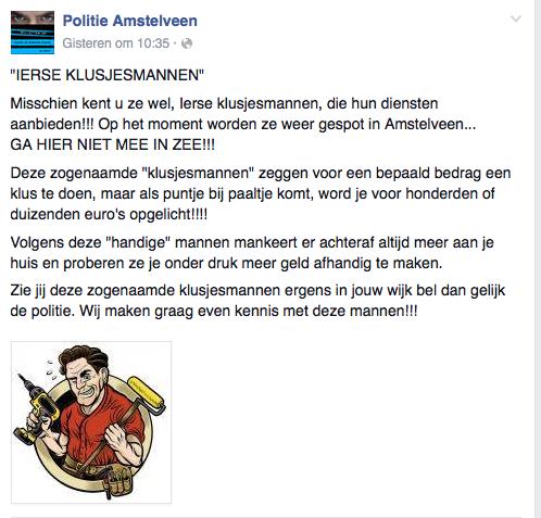 Ierse klusjesmannen gespot in Amstelveen