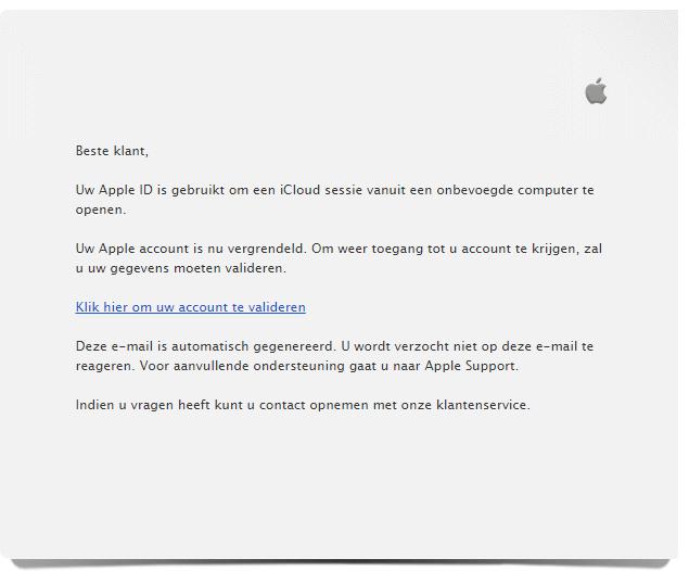 Pas op voor nepmails over vergrendeld Apple ID!