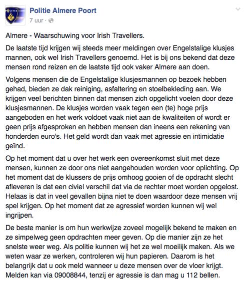 Politie Almere waarschuwt voor 'Irish Travellers'