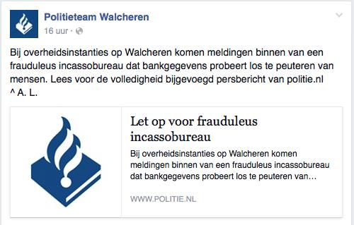 Politie Walcheren waarschuwt voor frauduleus incassobureau