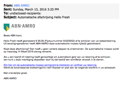 Nepmail 'ABN AMRO' over afschrijving 'Hello Fresh'