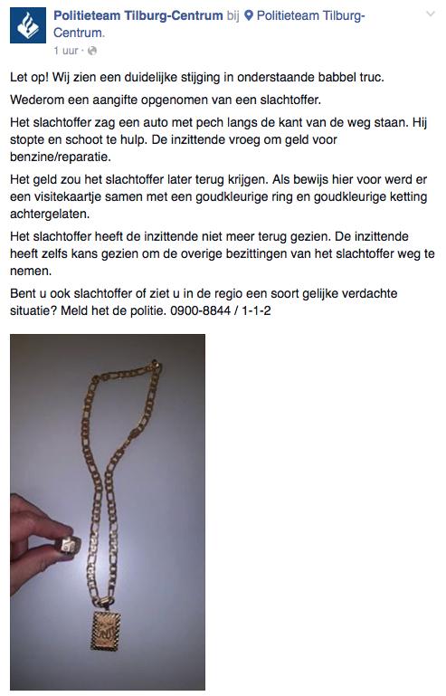 Politie Tilburg waarschuwt voor babbeltruc