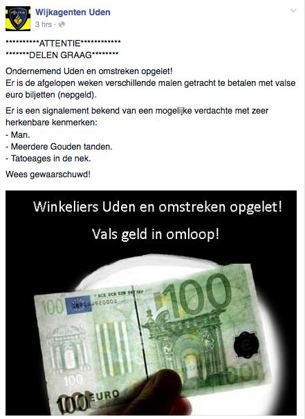 Politie Uden waarschuwt voor vals geld