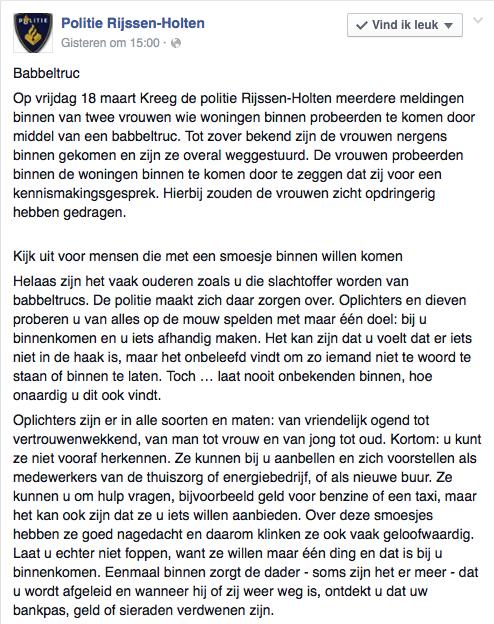 Politie Rijssen-Holten waarschuwt voor babbeltruc