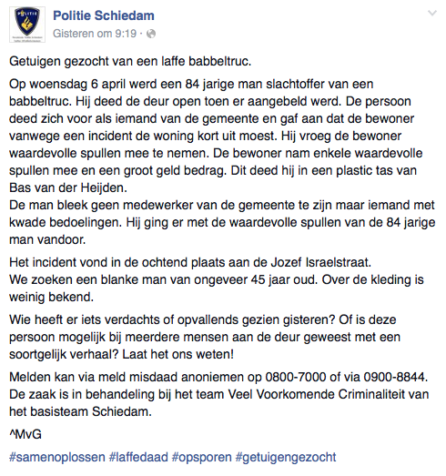 Oplichter met babbeltruc actief in Schiedam
