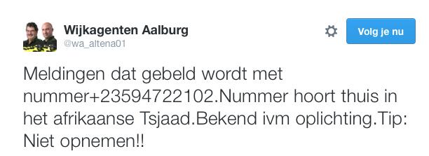 Politie Aalburg waarschuwt voor telefoonnummer