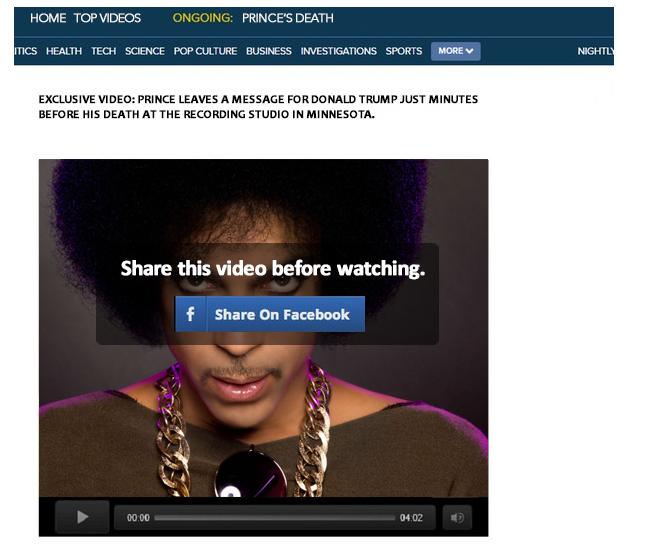 Bericht met videoboodschap Prince is nep
