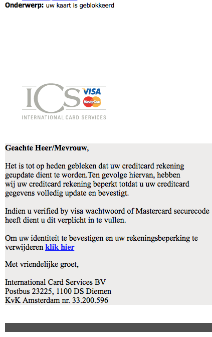 Nepmail 'ICS' over geblokkeerde kaart