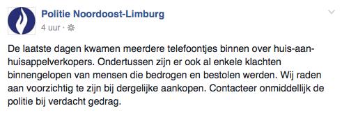 Politie Limburg waarschuwt voor 'appelverkopers'