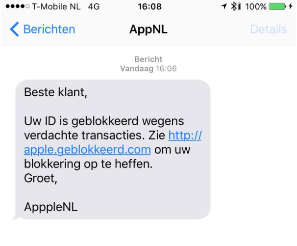 Valse sms uit naam van Apple
